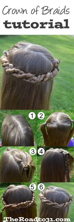 Crown of Braids for Little Girls Tutorial. But I would add flowers. Must try!