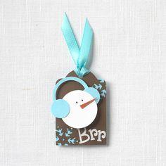 Punch art snowman tag