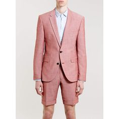 Selected Homme Slim Suit with Shorts ($87) ❤ liked on Polyvore featuring suits
