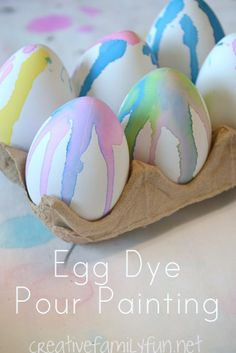 Try a fun twist on dyeing Easter eggs this year - egg dye pour painting!