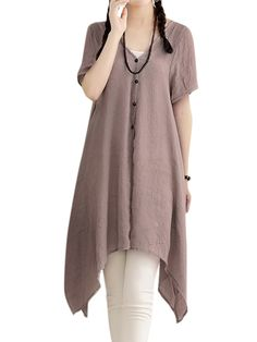 Sale 21% (16.39$) - Casual Women Solid Button High Low Cotton Linen Breathable Cardigan