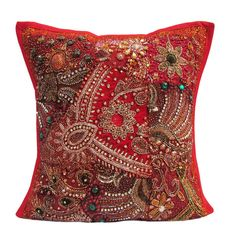 "16"" Indian Cotton Handmade Beaded Patch Work Traditional Pillow Cushion Cover p7 #JunedCraftPalace #ArtDecoStyle"