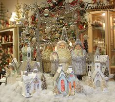 Silver & Gold Christmas display, don't you just love those large Belsnickles! by KD Vintage? Woodland Christmas, Miniature Christmas, Antique Christmas, Christmas Past, Gold Christmas, Christmas Crafts, Christmas Ideas, Christmas Minis, Christmas Stuff