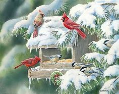 """Christmas Feast-Cardinals"" - by Susan Bourdet"
