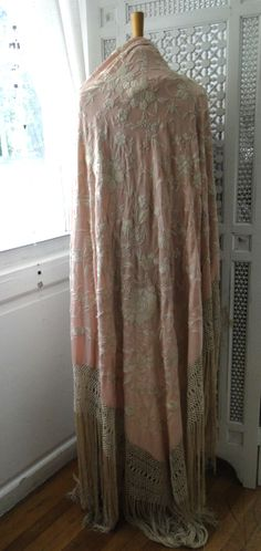 Vintage hand embroidered silk piano shawl