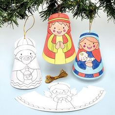 Nativity Colour-in Cone Characters - how cute are these? Crafts for the whole family in the lead up to Christmas to keep the kids busy