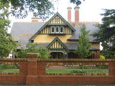 A Swiss Chalet Style Queen Anne Villa - Ballarat Victorian Architecture, Architecture Design, Victoria Australia, Melbourne Victoria, Modern Shed, Swiss Chalet, Red Brick Walls, Chalet Style, Queenslander