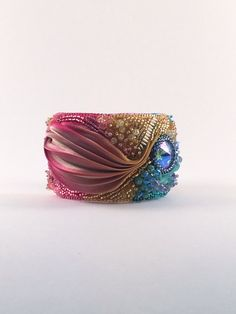 OOAK-bead embroidered cuff-bead embroidery by SarahDekkerDesigns
