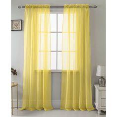Harriet Bee Daron Solid Sheer Rod Pocket Single Curtain Panel Color: Neon Yellow Source by mommastur Bamboo Curtains, Yellow Curtains, Drapes Curtains, Bedroom Red, Bedroom Decor, Bedroom Inspo, Bedroom Ideas, Dining Room Curtains, Custom Drapes