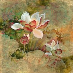 1.lotus flower original oil painting handmade vintage gold white red olive green new timeless frame metalic nature