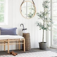 The new Studio McGee entryway and mudroom Target collection for winter 2021 Decor, Upholstered Bench, Umbrella Holder, House Inside, Spring Decor, Inspired Homes, Wood Mirror, Studio Mcgee, Find Furniture