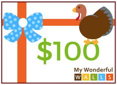 This holiday season we are giving away money! Woot! Woot! Don't miss your chance to enter our 2nd gift card giveaway of the season. Because we are so thankful for you, this one ends at midnight on Thanksgiving Day! (gobble, gobble)Enter now through Thanksgiving Day, November 28th, at 11:59 p.m. PST and you could be the lucky person to win a $100 gift card to My Wonderful Walls! Tree Stencil, Stencil Painting On Walls, Nursery Neutral, Floral Nursery, Jungle Room, Gift Card Giveaway, Room Themes, Wall Stickers, Wall Murals