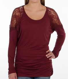 BKE red Pieced Lace Top