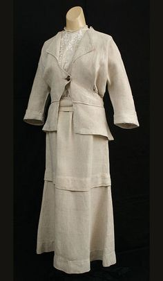 Edwardian walking suit, natural linen, circa 1915... I have always wanted one like this.