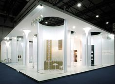 These multiple built in booths make up a semi-private and unique exhibit space.