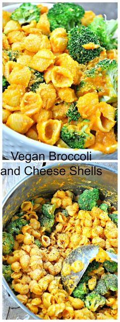 Super creamy vegan cheddar sauce made with veggies and mixed with steamed broccoli and shells! This vegan broccoli and cheese shells is amazing! Vegan Vegetarian, Vegetarian Recipes, Healthy Recipes, Vegan Food, Free Recipes, Healthy Food, Broccoli And Cheese, Steamed Broccoli, Vegan Cheddar Cheese
