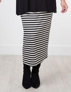 Box2fashion | Shelly jersey stripe skirt, stone/black