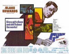 GUNN Movie POSTER 22x28 Half Sheet Craig Stevens Laura Devon Edward Asner Albert