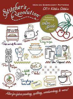Stitcher's Revolution - 11 Kitchin Stitchin - Grandma's Attic Sewing Emporium, Quilt Shop, Embroidery supplies, Quilting Supplies and Fabrics Embroidery Designs, Iron On Embroidery, Dmc Embroidery Floss, Embroidery Transfers, Embroidery Supplies, Vintage Embroidery, Cross Stitch Embroidery, Machine Embroidery, Revolution