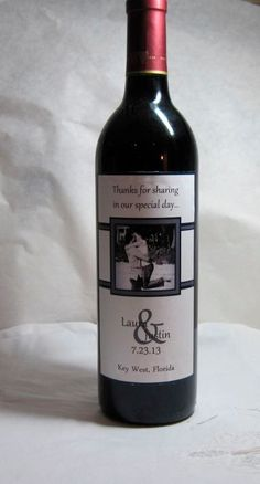 Classic wine bottle label for wedding! Would be a great favor if you got the mini bottles.