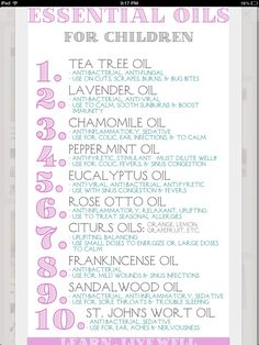 "A great little tip for a ""natures first aid kit"". List of essential oils and potential health benefits"