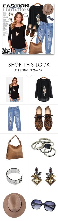 """""""SHEIN-BLACK LONG SLEEVE FEATHER PRINT LOOSE TSHIRT"""" by purplerose27 ❤ liked on Polyvore featuring moda"""