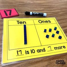 Decomposing Teen Numbers – A Kinderteacher Life Decomposing numbers into ten and some ones Numbers Kindergarten, Kindergarten Math Activities, Math Numbers, Preschool Math, Math Classroom, Fun Math, Teaching Math, Decomposing Numbers, Teaching Teen Numbers