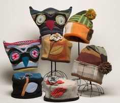 Here are samples of the things we make in the studio. Our hats are generally one size fits most, but you will find detailed descriptions of each style by clicking on the thumbnail. We use repurpose...