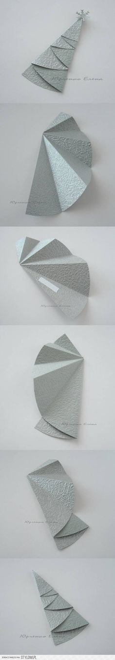 Clever way of making paper Christmas trees for cards