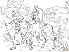 Mary And Joseph Flight Into Egypt Coloring Page From Jesus Nativity Category Select 27278 Printable Crafts Of Cartoons Nature Animals