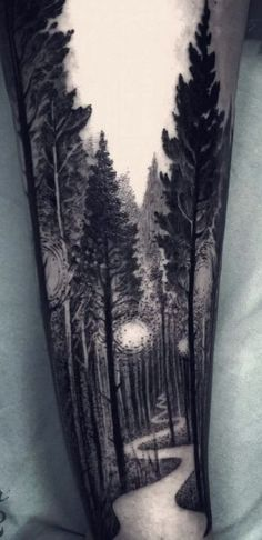 Baby driving down forest tattoo arm, tree tattoo arm, man arm tattoo, calf slee Trendy Tattoos, Unique Tattoos, Beautiful Tattoos, Small Tattoos, Tattoos For Guys, Messed Up Tattoos, Insane Tattoos, Feminine Tattoos, Forest Tattoo Sleeve