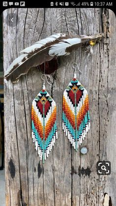 Seed Bead Jewelry, Seed Bead Earrings, Diy Earrings, Earrings Handmade, Beaded Jewelry, Handmade Jewelry, Aztec Earrings, Fringe Earrings, Native Beading Patterns