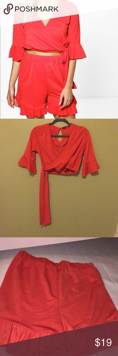 boohoo two piece set Red two piece set in excellent condition. Never has been worn. US size 4 Boohoo Tops Tees - Short Sleeve