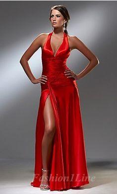A-Line Taffeta Halter Long Dress