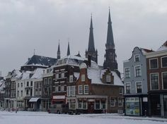 Winter in Delft, the market with in the back the Maria van Jesse kerk
