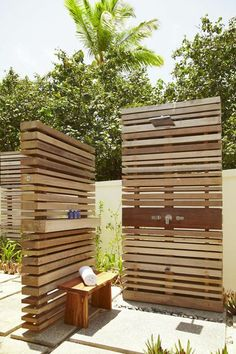outdoor shower summer bathroom wooden panels wall