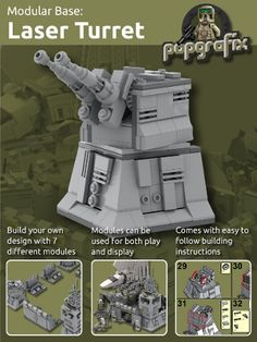 Modular Base - Twin Turbo Laser Turrets from BrickLink Lego Pictures, Star Wars Pictures, Lego Star Wars, Legos, Lego Poster, Lego Disney, Lego Army, Lego Clone Army, Nemesis Prime
