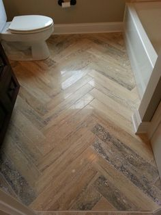 Herringbone bathroom tile