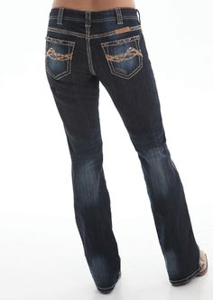 "These new ""copper bling"" jeans from Cowgirl Tuff are a sure hit! They feature a beautiful dark wash that gives them a sense of uniqueness, as well as being completely versatile within your wardrobe. T"