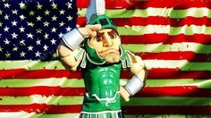 Sparty and the American flag