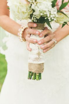 Burlap and lace bouquet stem wrap // photo by Cassandra Photo, via  http://theeverylastdetail.com/2013/10/18/vintage-rustic-pink-and-white-illinois-wedding/