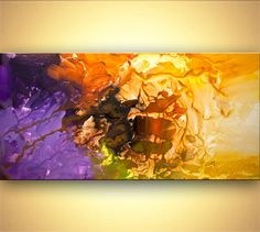 """Purple Modern Abstract Painting Original Contemporary Yellow Fine Art on Canvas Pluto by Osnat - MADE-TO-ORDER - 48""""x24"""""""