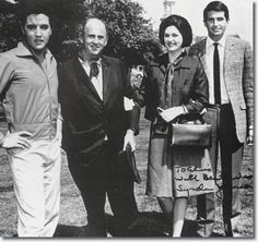 """President Lyndon B. Johnson's daughter Lynda visited Elvis on the set of """"Spinout"""" along with George Hamilton 2-26-66"""