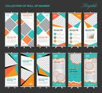 Collection of Orange and green Roll Up Banner Design polygon background, , advertisement, display, standy, flyer template