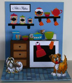 """Card I made using the Cameo """"a2 pop up kitchen card"""" file. I made the items on the stove & cabinet stand up, but fold flat for an envelope."""