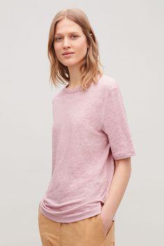 COS | Boxy linen t-shirt Linen Tshirts, Minimal Fashion, Minimal Style, Suit Shop, White Shirts, Latest Dress, Contemporary Fashion, Pink Tops, Dress Making