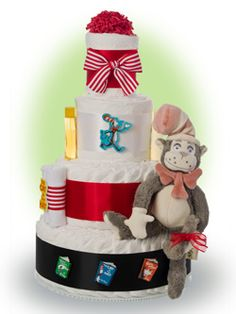 Introduce the new baby to the Dr Seuss early with our diaper cake featuring The Cat in The Hat. These classic stories are the ones children love to hear over and over again and before you know it they are reading to you! Baby Shower Items, Baby Shower Diapers, Baby Shower Cakes, Baby Shower Parties, Baby Shower Gifts, Baby Gifts, Shower Party, Lil Baby, Baby Love