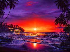 Christian Riese Lassen print, beach, sunrise by Christian Riese Lassen Landscape Art, Landscape Paintings, Amazing Sunsets, Surf Art, Jolie Photo, Seascape Paintings, Ocean Art, Beach Art, Pictures To Paint
