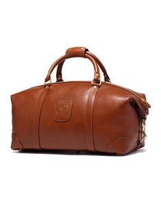 $1,195, Tobacco Leather Duffle Bag: Ghurka Pebbled Leather Duffle Bag Chestnut. Sold by Neiman Marcus. Click for more info: https://lookastic.com/men/shop_items/112201/redirect