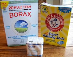 This is the ingredients I use to make my homemade laundry soap, only I use Octagon Lndry. soap instead of Ivory..if you want a strong smelling scent, you could use Irish Springs.  I've been making my own Lndry soap for almost 2 yrs now and it's GREAT and CHEAP!! :)  You only need a Tblsp for a load of clothes unless it's a big or heavily soiled load, then use 1 1/2 to 2 Tbsp.!